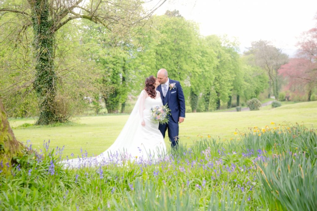 Coed Y Mwstwr Hotel Wedding Photography of Vicky and Craig, Bride and Groom, Spring Wedding, Bluebell Wedding